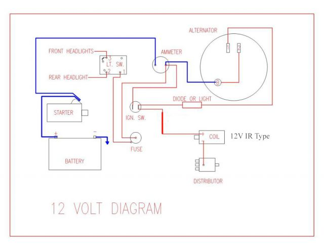 wiring diagram for key start  u0026 12 volt alternator